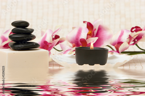 canvas print picture Spa stones and soap