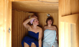 frauen in sauna poster