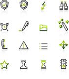 Green-gray contour admin icons poster