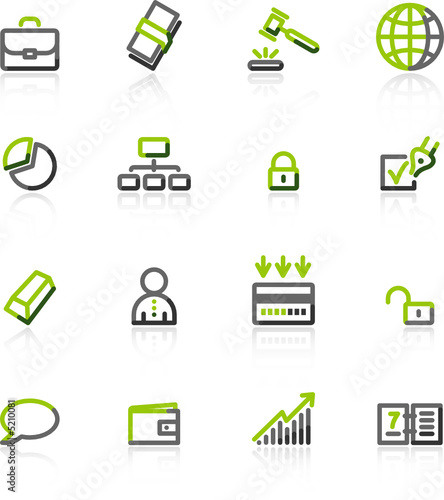 green-gray business icons