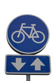 Bicycle sign with arrows poster