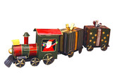 santa arriving by train with clipping path poster