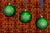 Three green christmas spheres. 3D image. poster