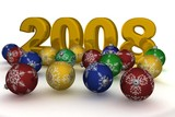 Christmas spheres on a background 2008. 3D image. poster