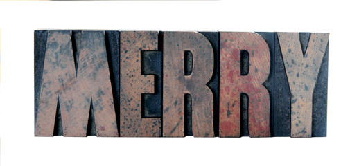 'merry' in old letterpress wood type