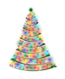 christmas tree in lights isolated