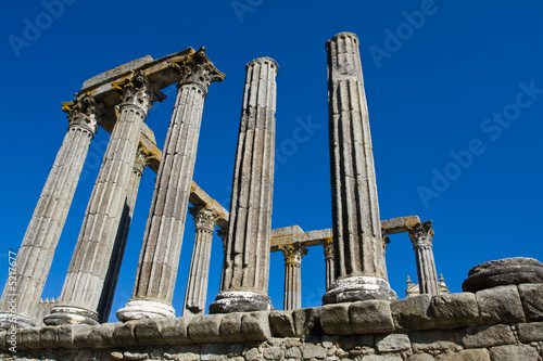 Ancient 1st century Roman temple of Diana in Evora, Portugal