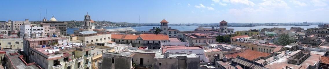 Panoramic view of old Havana buildings