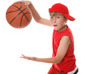 Playing basketball boy in action poster