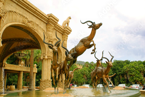 Fountain - entrance to Lost City Hotel at Sun City, South Africa - 5225417