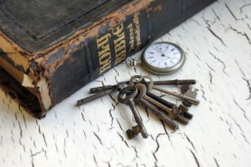 Antique Bible and Keys