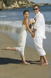 Bride and Groom on beach, portrait
