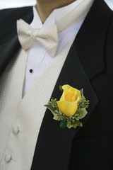 Yellow rose on Grooms tuxedo, close-up