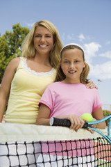 Mother and Daughter at Tennis Net, portrait