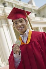 Graduate Holding Medal, portrait