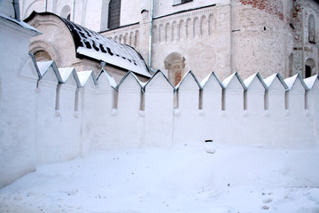 Snowdrift near the wall of the Christmas cathedral