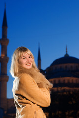Beautiful blond girl in lambskin coat (Turkey, Istanbul)