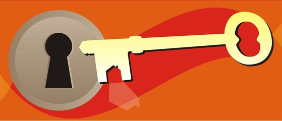 Ilustracion de llave y cerradurea