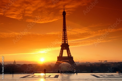 canvas print picture tour eiffel et jogger