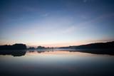 blue morning sunshine on the lake poster