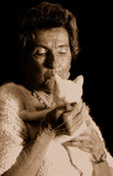 Grandmother and cat poster