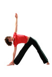 Yoga. Trikonasana.The triangle pose. poster