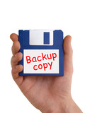 Backup disc in hand poster