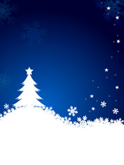 christmas tree with snow flake on blue background