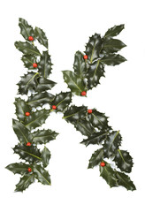 Holly With Berry Letter K