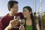 Couple Drinking Wine on Boat