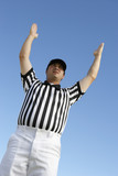 Referee Signalling Touchdown, low angle view, low angle view