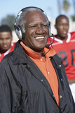 Football coach wearing headset