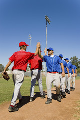 Line of baseball players giving each other high fives