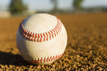 Baseball on ground, close-up