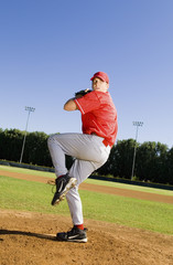 Baseball pitcher getting ready to pitch