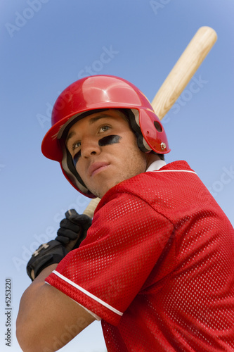 Baseball batter waiting for pitch, low angle view