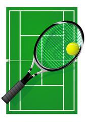 Court de tennis sur surface dure