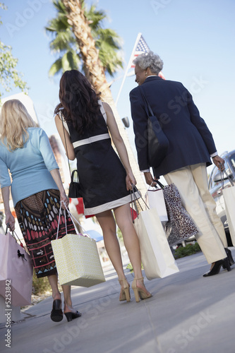 Women walking outdoors, carrying shopping bags on Shopping Trip, back view