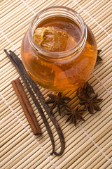 fresh honey with honeycomb and spices