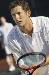 Tennis Player holding racket, Waiting For serve