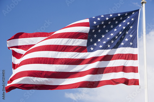 United States flag flapping