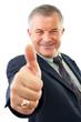 """Изолированные портрет старший бизнесмена, давая знак  """"Недурно!"""