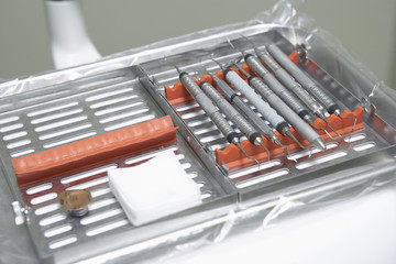 Dental tools in tray, close-up