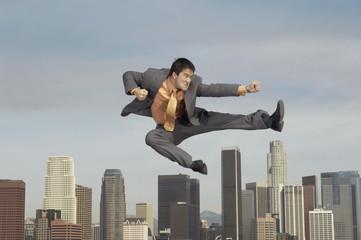 Businessman in Martial Arts Move