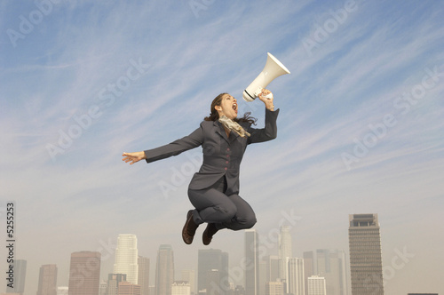 Businesswoman with Bullhorn