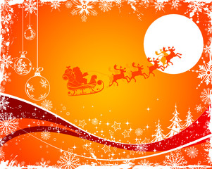 Christmas background with Santa & deers, vector illustration