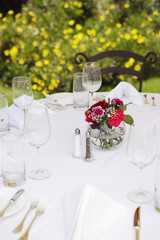 Dining table set in garden