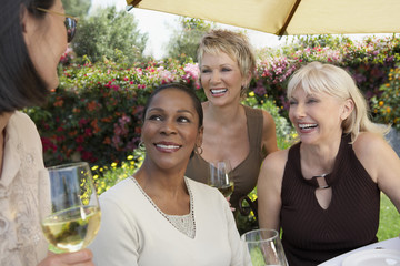 four mature elegant women chatting at garden party