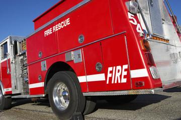Fire rescue truck parked on roadside