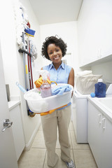 Woman doing housework, portrait